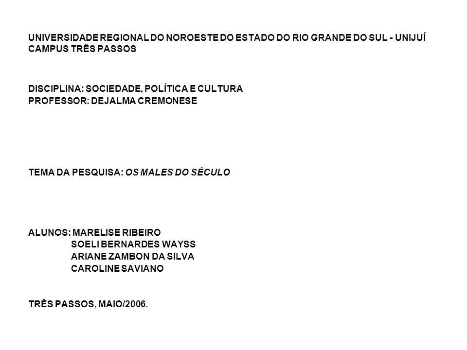 UNIVERSIDADE REGIONAL DO NOROESTE DO ESTADO DO RIO GRANDE DO SUL - UNIJUÍ CAMPUS TRÊS PASSOS DISCIPLINA: SOCIEDADE, POLÍTICA E CULTURA PROFESSOR: DEJA