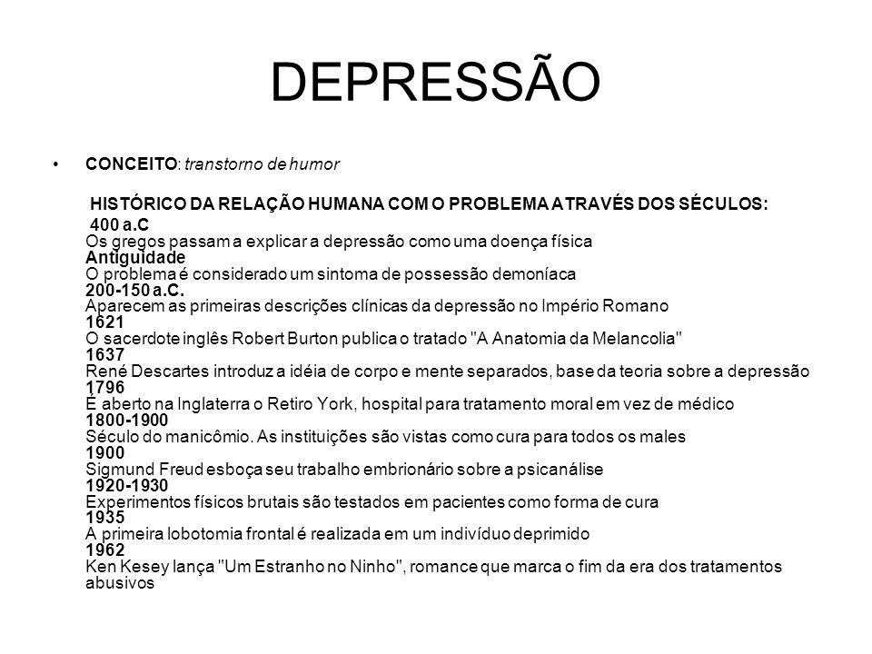 DEPRESSÃO CONCEITO: transtorno de humor HISTÓRICO DA RELAÇÃO HUMANA COM O PROBLEMA ATRAVÉS DOS SÉCULOS: 400 a.C Os gregos passam a explicar a depressã