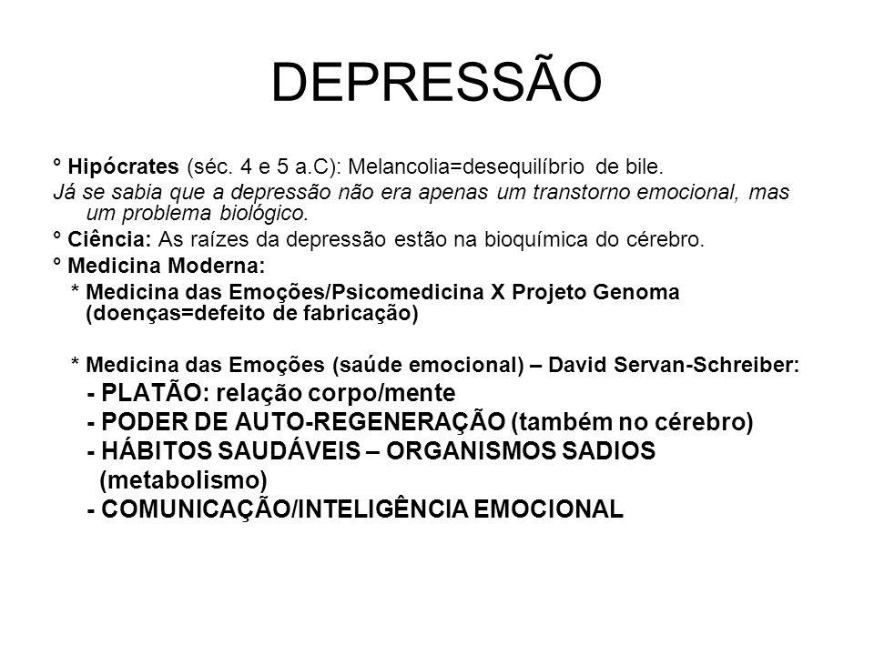 DEPRESSÃO ° Hipócrates (séc. 4 e 5 a.C): Melancolia=desequilíbrio de bile. Já se sabia que a depressão não era apenas um transtorno emocional, mas um