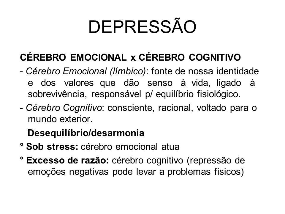 DEPRESSÃO CÉREBRO EMOCIONAL x CÉREBRO COGNITIVO - Cérebro Emocional (límbico): fonte de nossa identidade e dos valores que dão senso à vida, ligado à