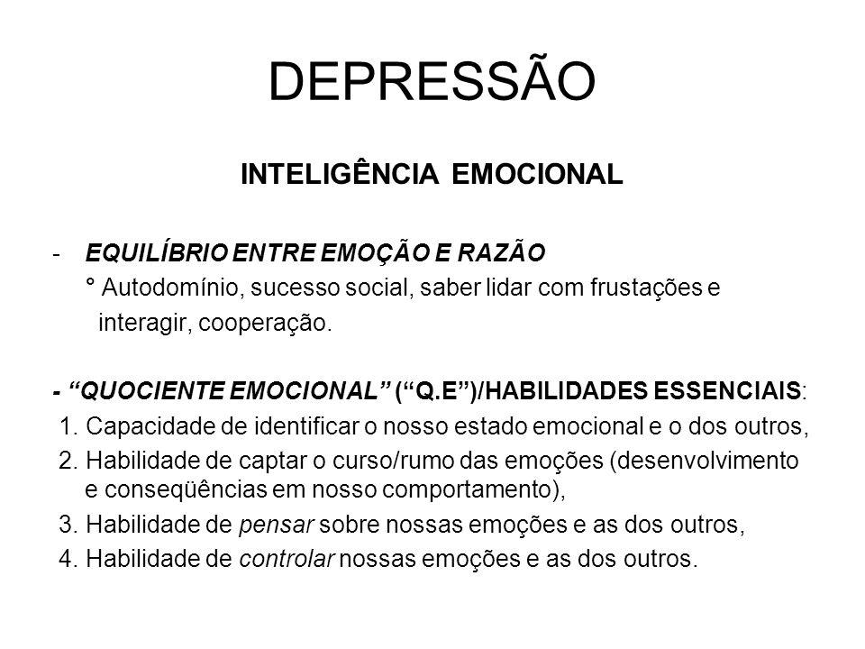 DEPRESSÃO INTELIGÊNCIA EMOCIONAL -EQUILÍBRIO ENTRE EMOÇÃO E RAZÃO ° Autodomínio, sucesso social, saber lidar com frustações e interagir, cooperação. -