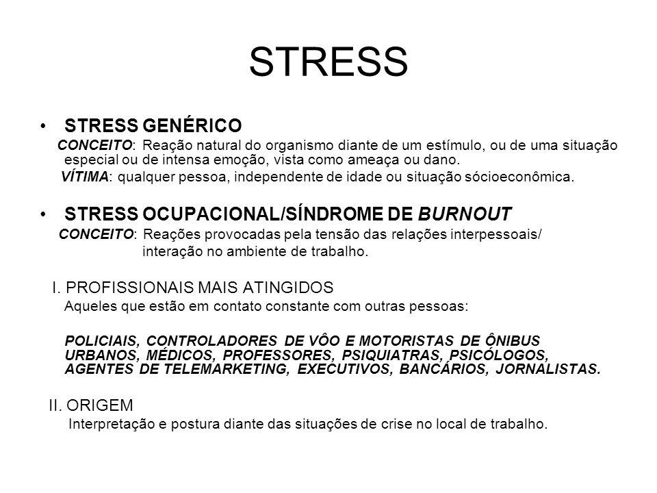 STRESS STRESS GENÉRICO CONCEITO: Reação natural do organismo diante de um estímulo, ou de uma situação especial ou de intensa emoção, vista como ameaç