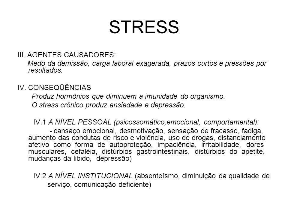 STRESS III. AGENTES CAUSADORES: Medo da demissão, carga laboral exagerada, prazos curtos e pressões por resultados. IV. CONSEQÜÊNCIAS Produz hormônios