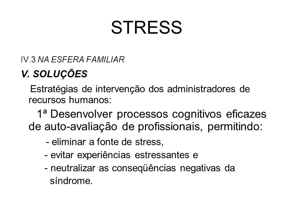 STRESS 2ª Estratégias individuais de adaptação ao stress: - treinar as pessoas para que busquem soluções para seus problemas (controle de tempo, traçar metas possíveis de serem alcançadas, técnicas de relaxamento/esquecimento dos problemas do trabalho e para evitar a autocobrança).