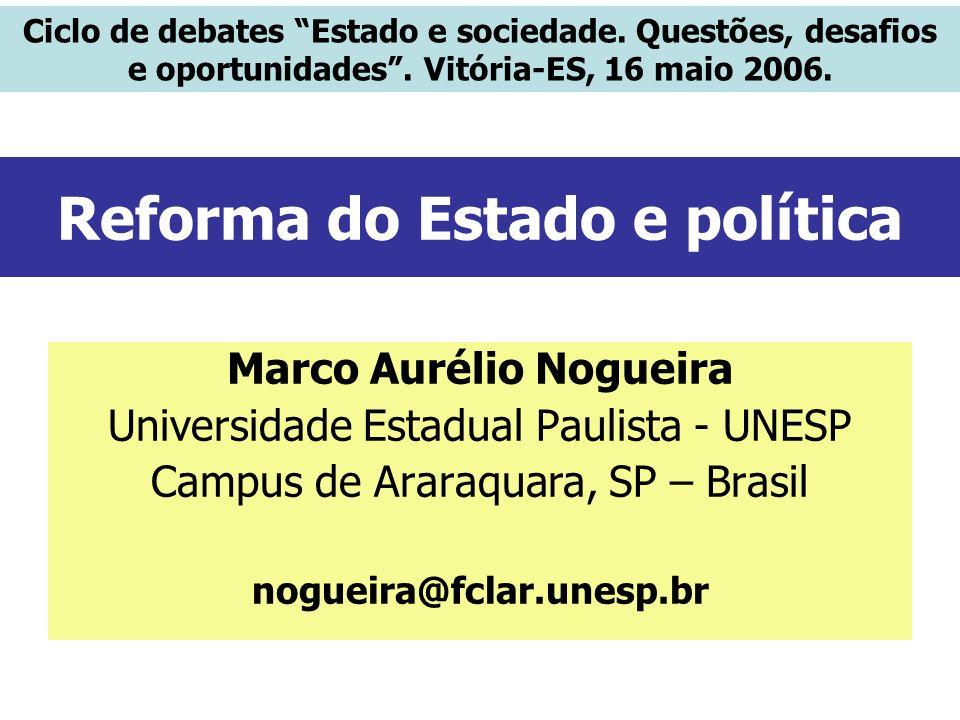 Reforma do Estado e política Marco Aurélio Nogueira Universidade Estadual Paulista - UNESP Campus de Araraquara, SP – Brasil nogueira@fclar.unesp.br C