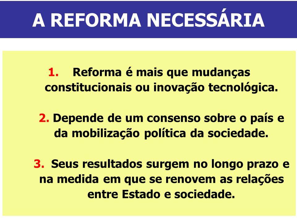 1.Reforma é mais que mudanças constitucionais ou inovação tecnológica. 2. Depende de um consenso sobre o país e da mobilização política da sociedade.