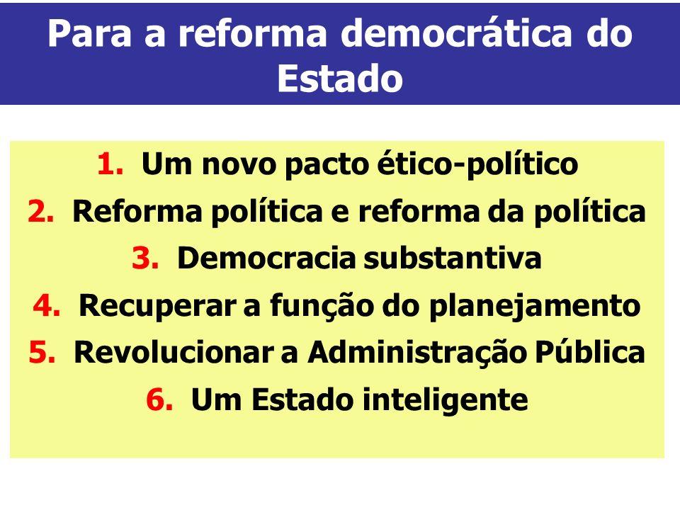 Para a reforma democrática do Estado 1.Um novo pacto ético-político 2.Reforma política e reforma da política 3.Democracia substantiva 4.Recuperar a fu