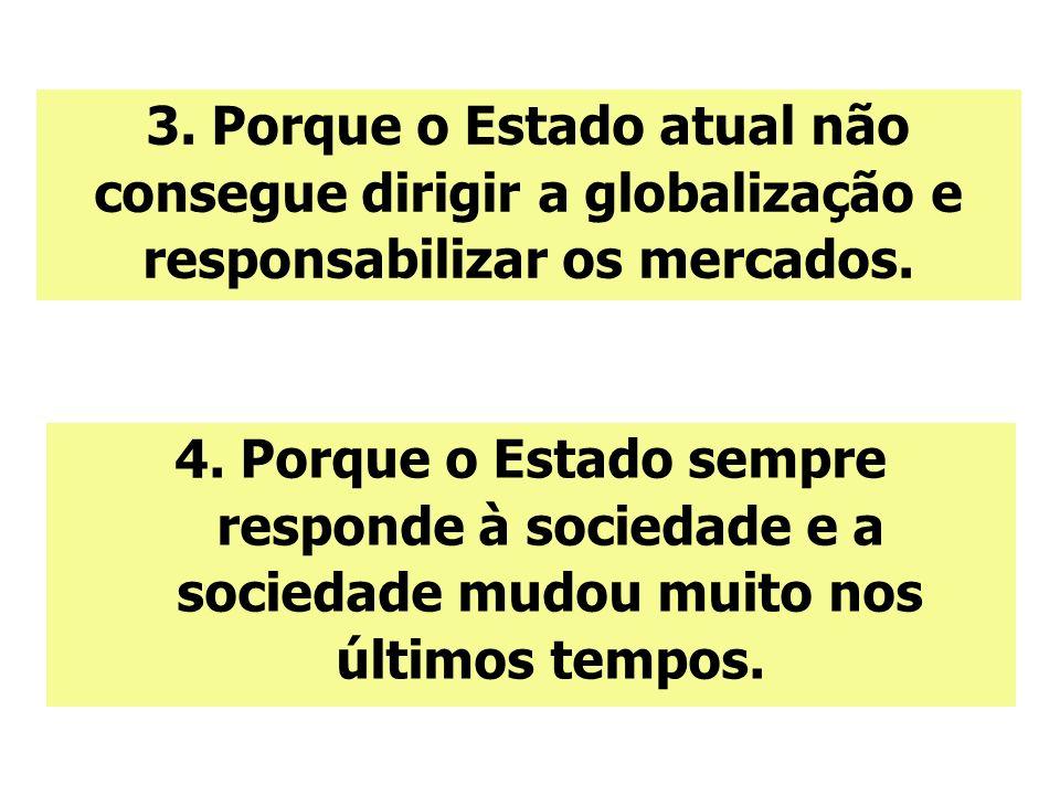 4. Porque o Estado sempre responde à sociedade e a sociedade mudou muito nos últimos tempos. 3. Porque o Estado atual não consegue dirigir a globaliza