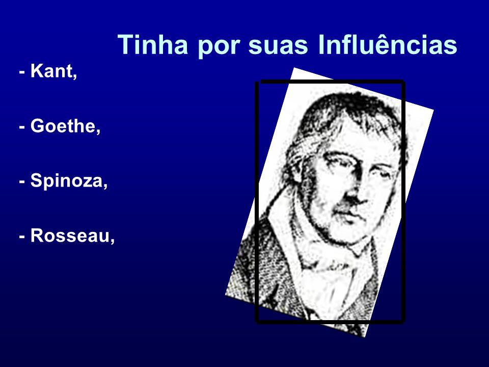 Tinha por suas Influências - Kant, - Goethe, - Spinoza, - Rosseau,
