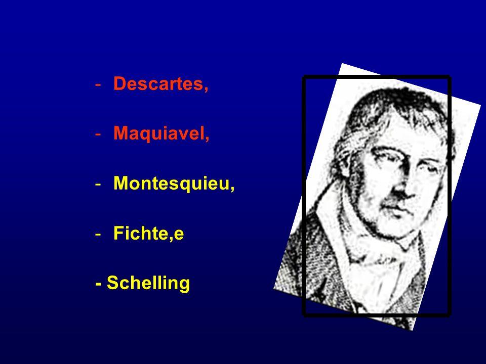 -Descartes, -Maquiavel, -Montesquieu, -Fichte,e - Schelling