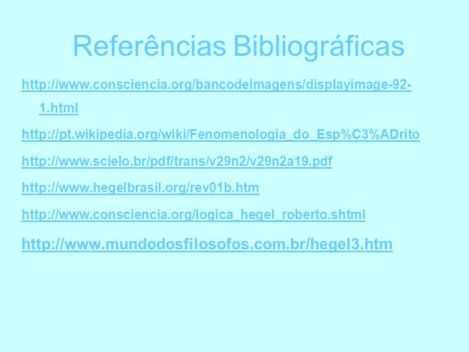 Referências Bibliográficas http://www.consciencia.org/bancodeimagens/displayimage-92- 1.html http://pt.wikipedia.org/wiki/Fenomenologia_do_Esp%C3%ADri