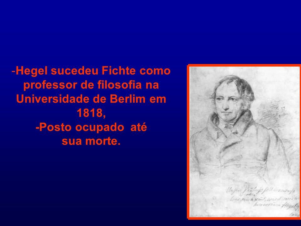-Hegel sucedeu Fichte como professor de filosofia na Universidade de Berlim em 1818, -Posto ocupado até sua morte.