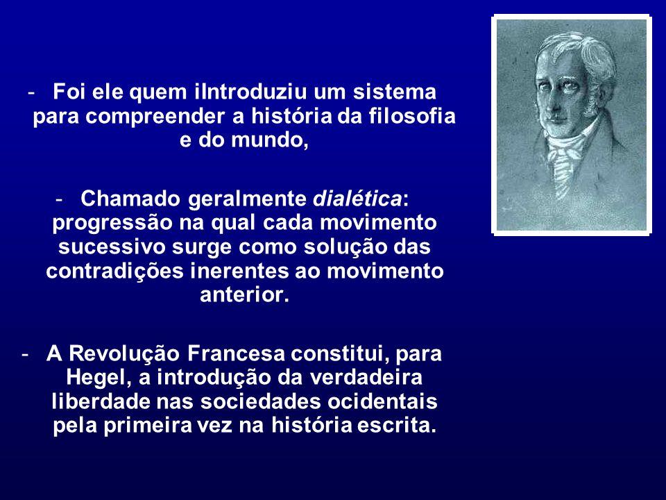 -Foi ele quem iIntroduziu um sistema para compreender a história da filosofia e do mundo, -Chamado geralmente dialética: progressão na qual cada movim