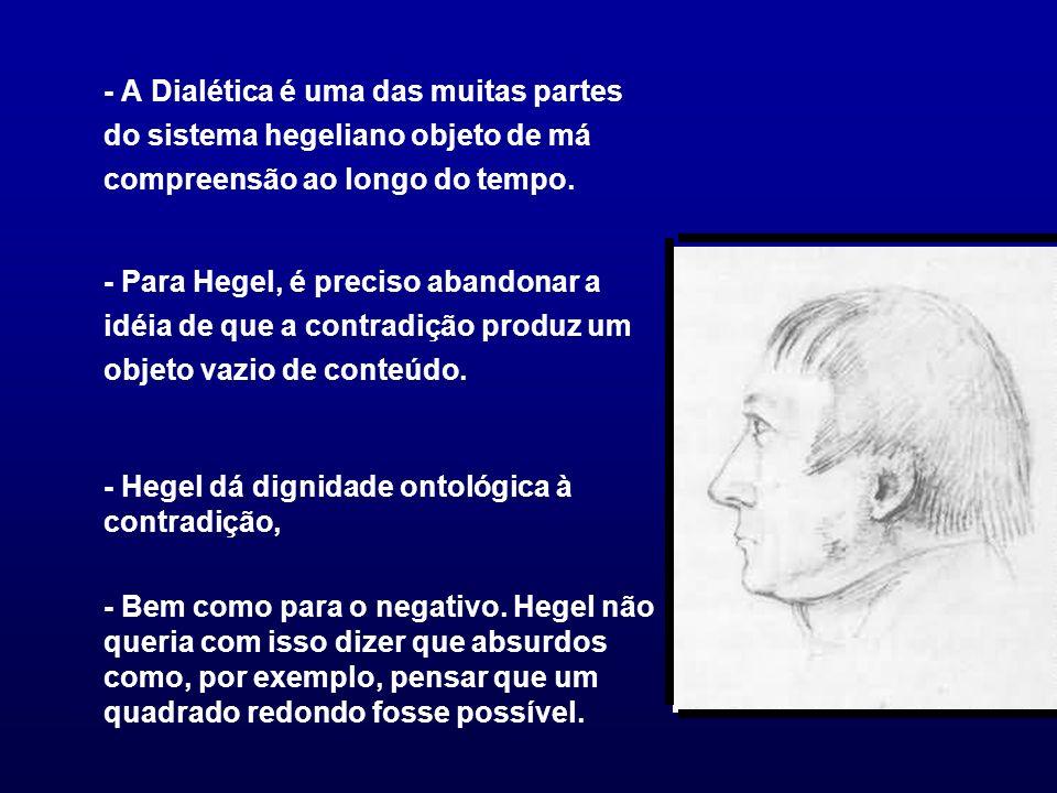 - A Dialética é uma das muitas partes do sistema hegeliano objeto de má compreensão ao longo do tempo. - Para Hegel, é preciso abandonar a idéia de qu