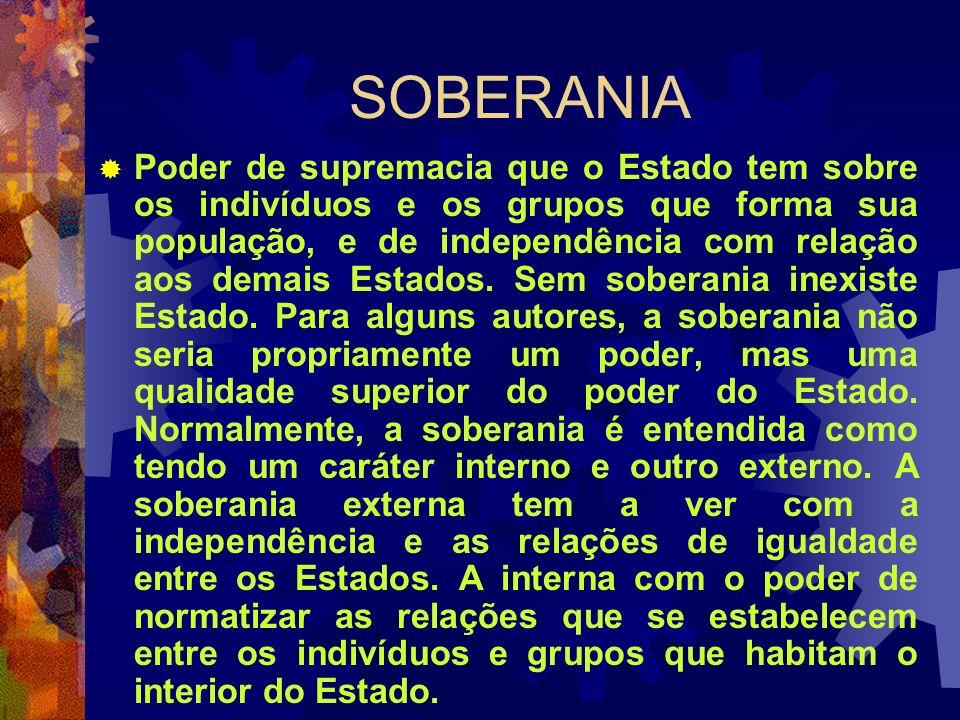 SOBERANIA Poder de supremacia que o Estado tem sobre os indivíduos e os grupos que forma sua população, e de independência com relação aos demais Esta