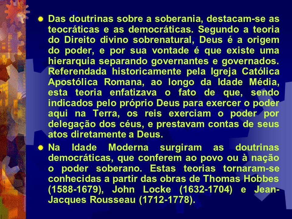 Das doutrinas sobre a soberania, destacam-se as teocráticas e as democráticas. Segundo a teoria do Direito divino sobrenatural, Deus é a origem do pod