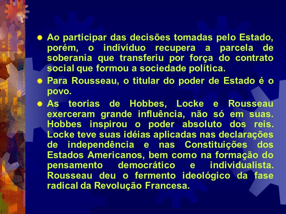 Ao participar das decisões tomadas pelo Estado, porém, o indivíduo recupera a parcela de soberania que transferiu por força do contrato social que for