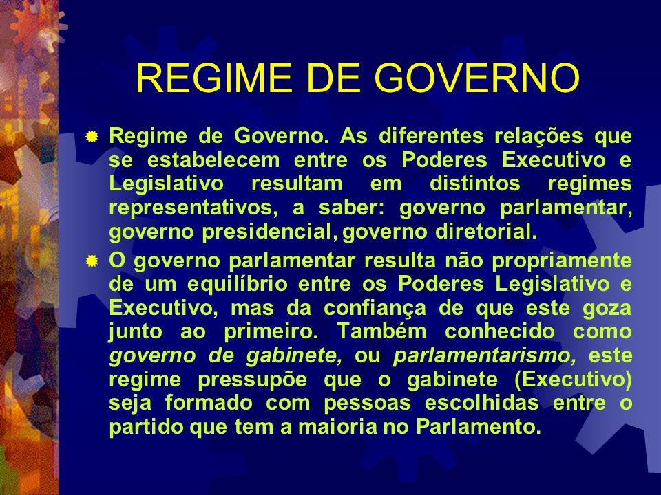 REGIME DE GOVERNO Regime de Governo. As diferentes relações que se estabelecem entre os Poderes Executivo e Legislativo resultam em distintos regimes