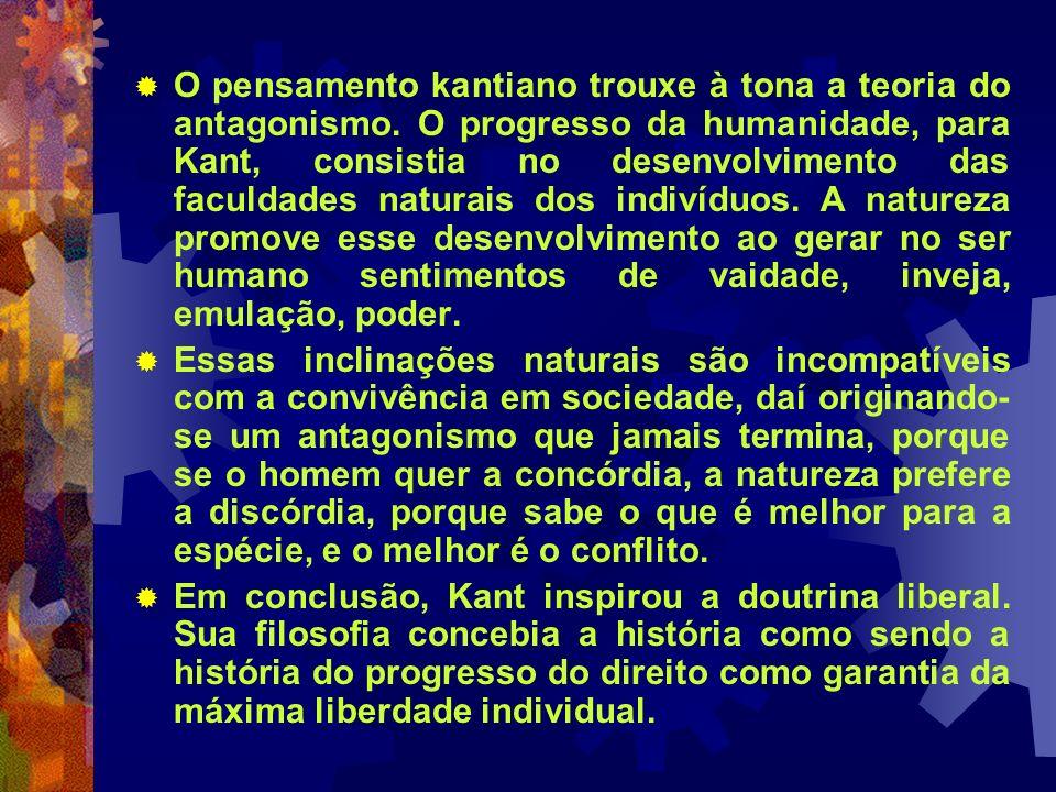O pensamento kantiano trouxe à tona a teoria do antagonismo. O progresso da humanidade, para Kant, consistia no desenvolvimento das faculdades naturai
