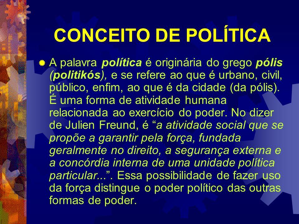 CONCEITO DE POLÍTICA A palavra política é originária do grego pólis (politikós), e se refere ao que é urbano, civil, público, enfim, ao que é da cidad