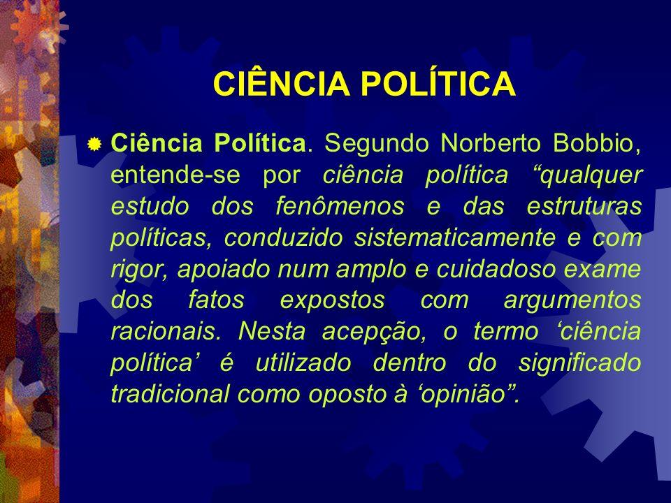 CIÊNCIA POLÍTICA Ciência Política. Segundo Norberto Bobbio, entende-se por ciência política qualquer estudo dos fenômenos e das estruturas políticas,