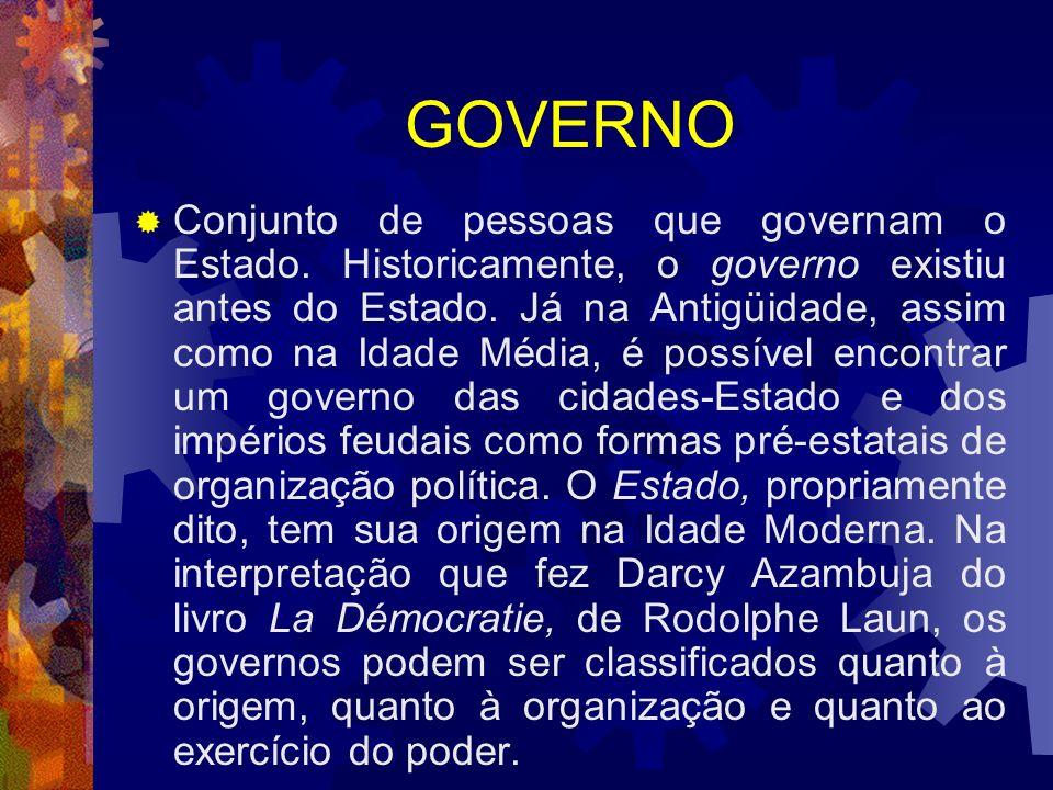GOVERNO Conjunto de pessoas que governam o Estado. Historicamente, o governo existiu antes do Estado. Já na Antigüidade, assim como na Idade Média, é