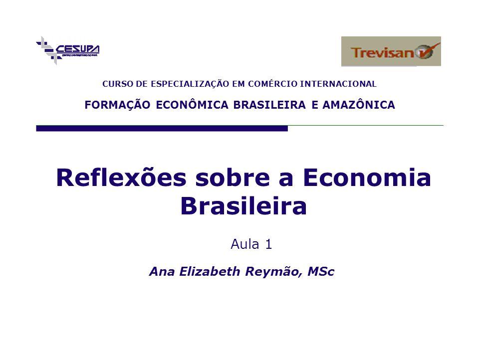 CURSO DE ESPECIALIZAÇÃO EM COMÉRCIO INTERNACIONAL FORMAÇÃO ECONÔMICA BRASILEIRA E AMAZÔNICA Ana Elizabeth Reymão, MSc Reflexões sobre a Economia Brasi