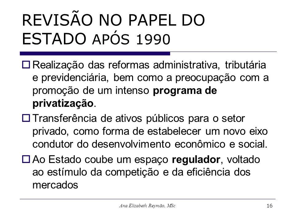 Ana Elizabeth Reymão, MSc16 REVISÃO NO PAPEL DO ESTADO APÓS 1990 Realização das reformas administrativa, tributária e previdenciária, bem como a preoc