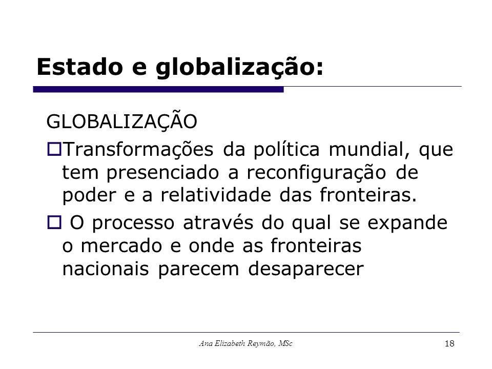 Ana Elizabeth Reymão, MSc18 Estado e globalização: GLOBALIZAÇÃO Transformações da política mundial, que tem presenciado a reconfiguração de poder e a