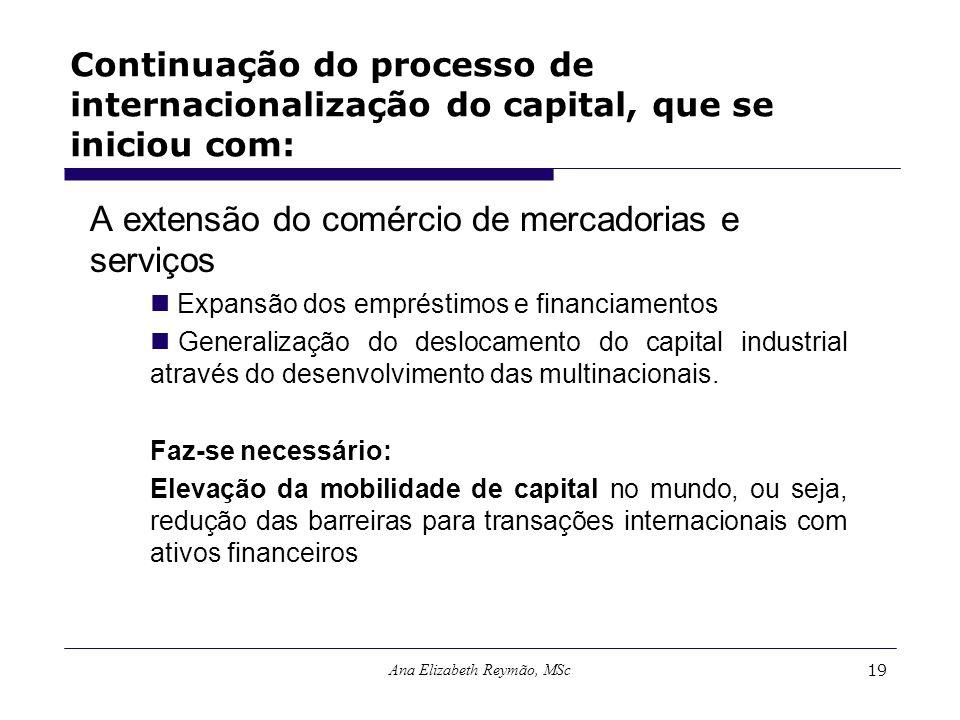 Ana Elizabeth Reymão, MSc19 Continuação do processo de internacionalização do capital, que se iniciou com: A extensão do comércio de mercadorias e ser