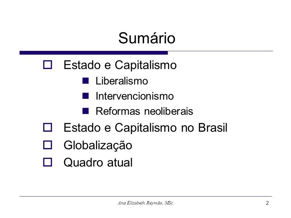 Ana Elizabeth Reymão, MSc2 Sumário Estado e Capitalismo Liberalismo Intervencionismo Reformas neoliberais Estado e Capitalismo no Brasil Globalização