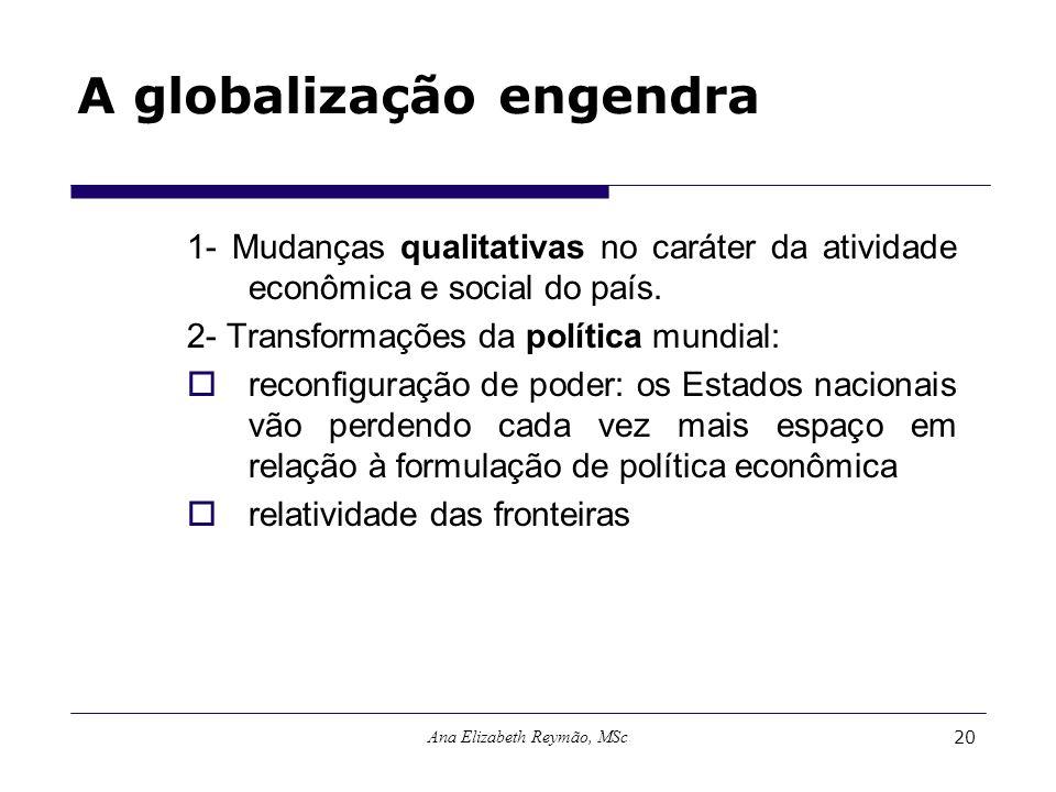 Ana Elizabeth Reymão, MSc20 A globalização engendra 1- Mudanças qualitativas no caráter da atividade econômica e social do país. 2- Transformações da