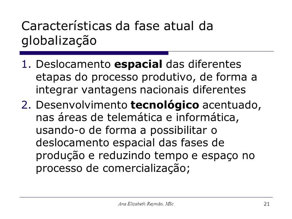 Ana Elizabeth Reymão, MSc21 Características da fase atual da globalização 1.Deslocamento espacial das diferentes etapas do processo produtivo, de form