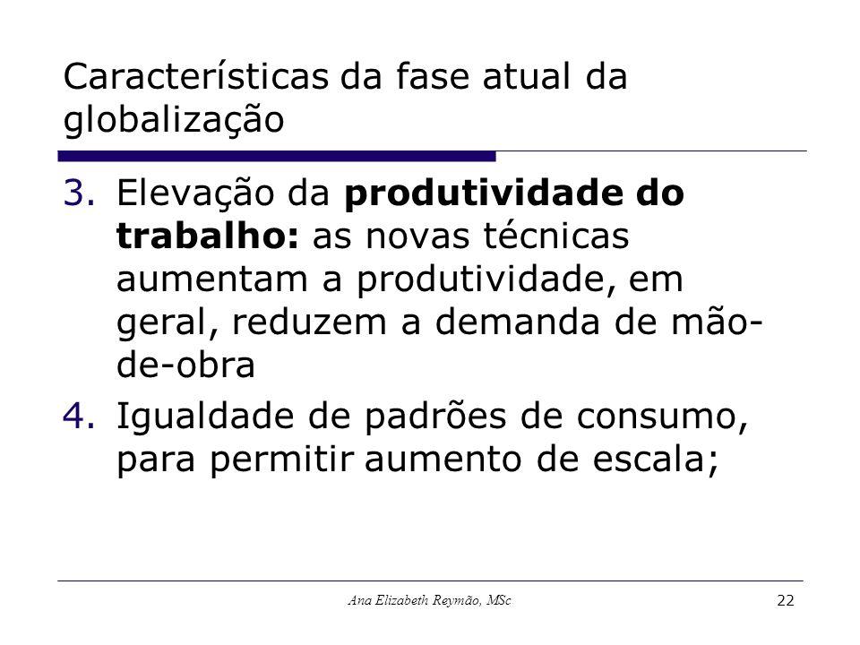 Ana Elizabeth Reymão, MSc22 Características da fase atual da globalização 3.Elevação da produtividade do trabalho: as novas técnicas aumentam a produt