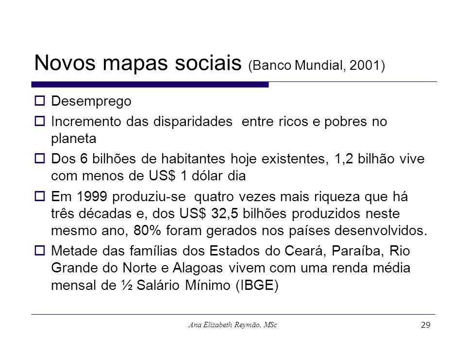 Ana Elizabeth Reymão, MSc29 Novos mapas sociais (Banco Mundial, 2001) Desemprego Incremento das disparidades entre ricos e pobres no planeta Dos 6 bil