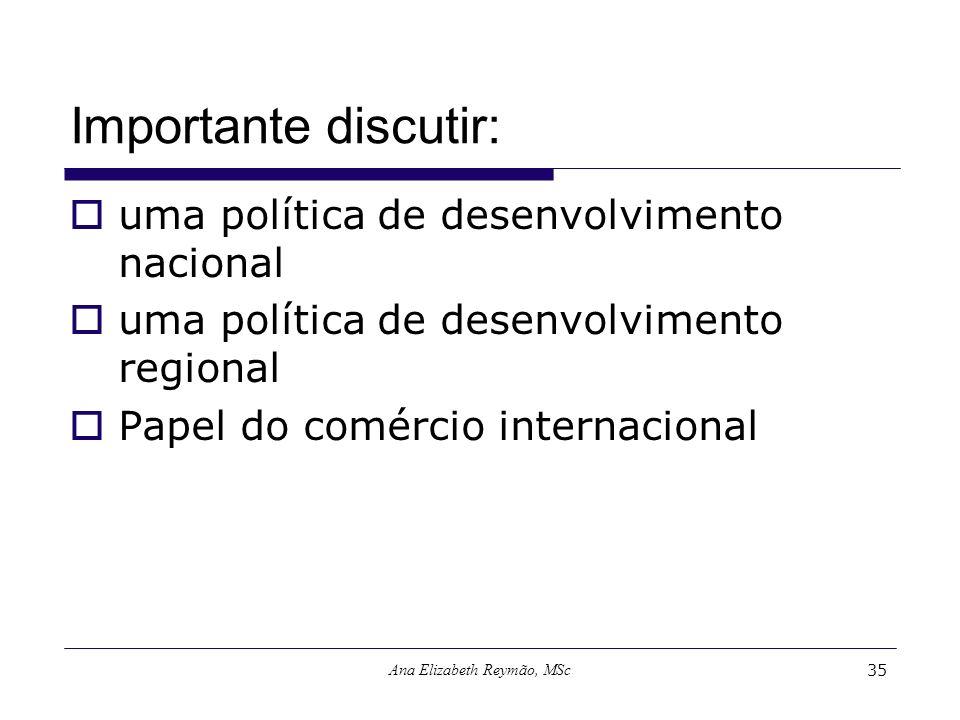 Ana Elizabeth Reymão, MSc35 Importante discutir: uma política de desenvolvimento nacional uma política de desenvolvimento regional Papel do comércio i