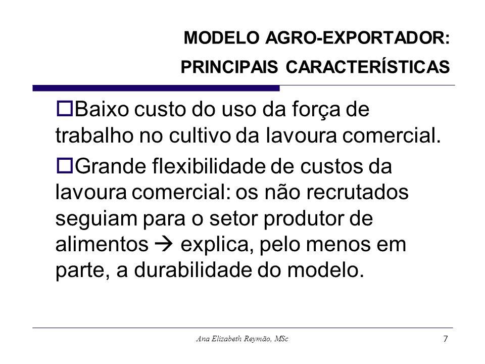 Ana Elizabeth Reymão, MSc7 MODELO AGRO-EXPORTADOR: PRINCIPAIS CARACTERÍSTICAS Baixo custo do uso da força de trabalho no cultivo da lavoura comercial.