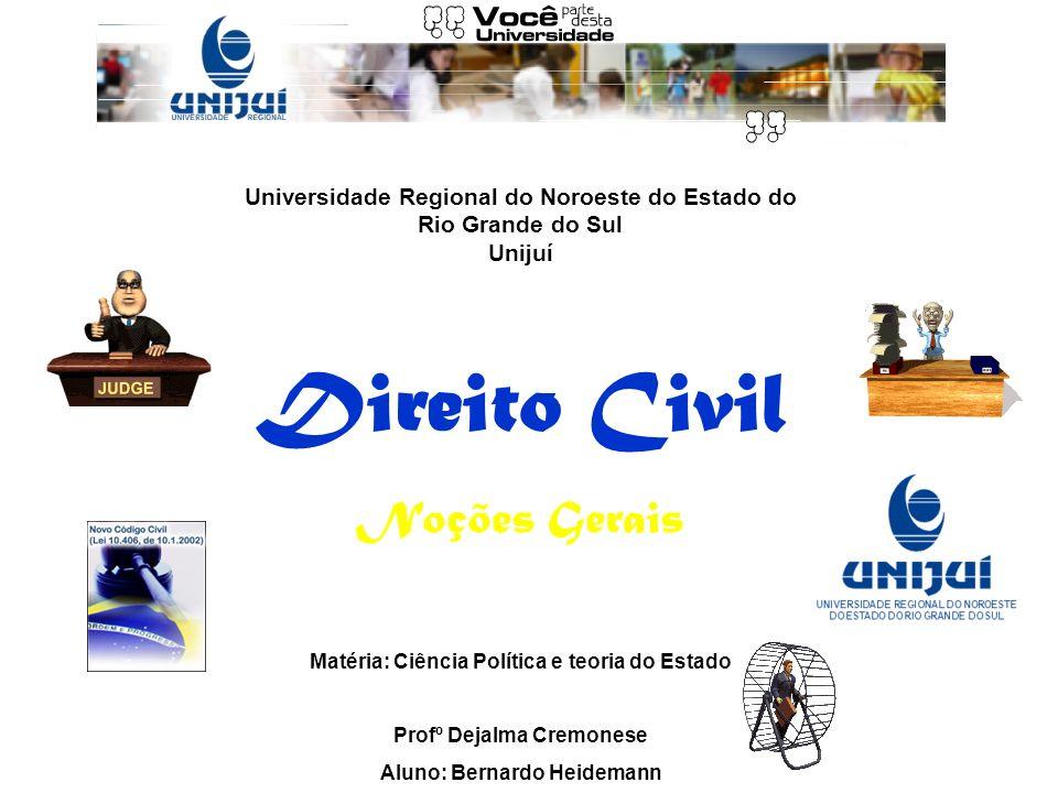 Universidade Regional do Noroeste do Estado do Rio Grande do Sul Unijuí Direito Civil Noções Gerais Matéria: Ciência Política e teoria do Estado Profº