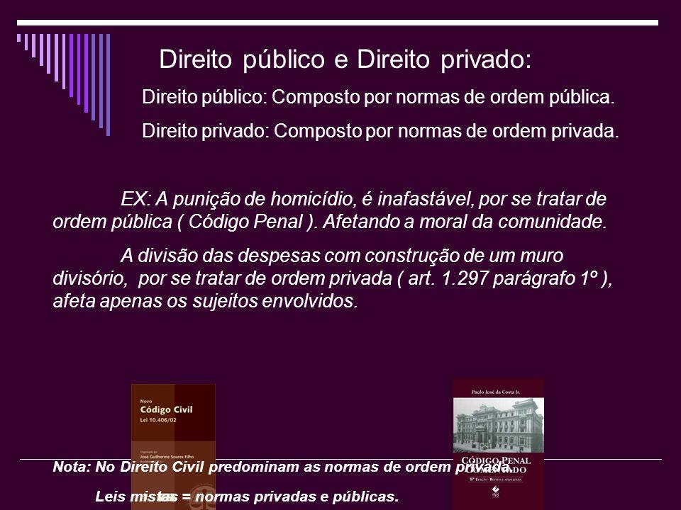 Direito público e Direito privado: Direito público: Composto por normas de ordem pública. Direito privado: Composto por normas de ordem privada. EX: A
