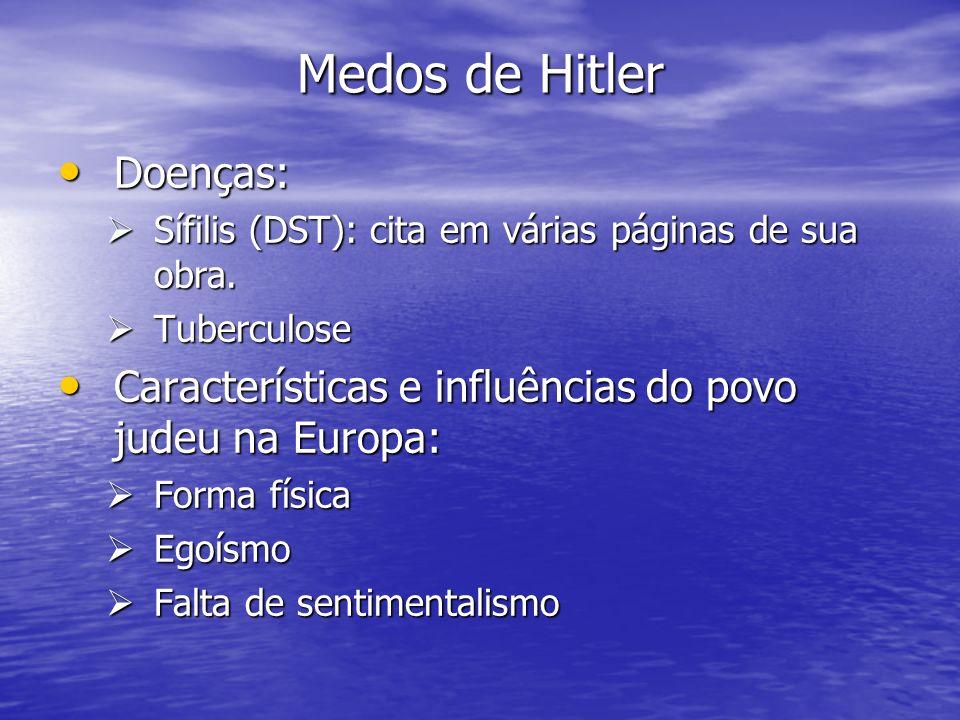 Medos de Hitler Doenças: Doenças: Sífilis (DST): cita em várias páginas de sua obra. Sífilis (DST): cita em várias páginas de sua obra. Tuberculose Tu