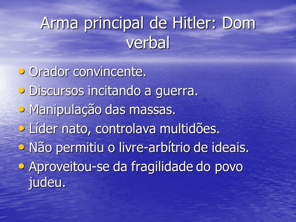 Arma principal de Hitler: Dom verbal Orador convincente. Orador convincente. Discursos incitando a guerra. Discursos incitando a guerra. Manipulação d