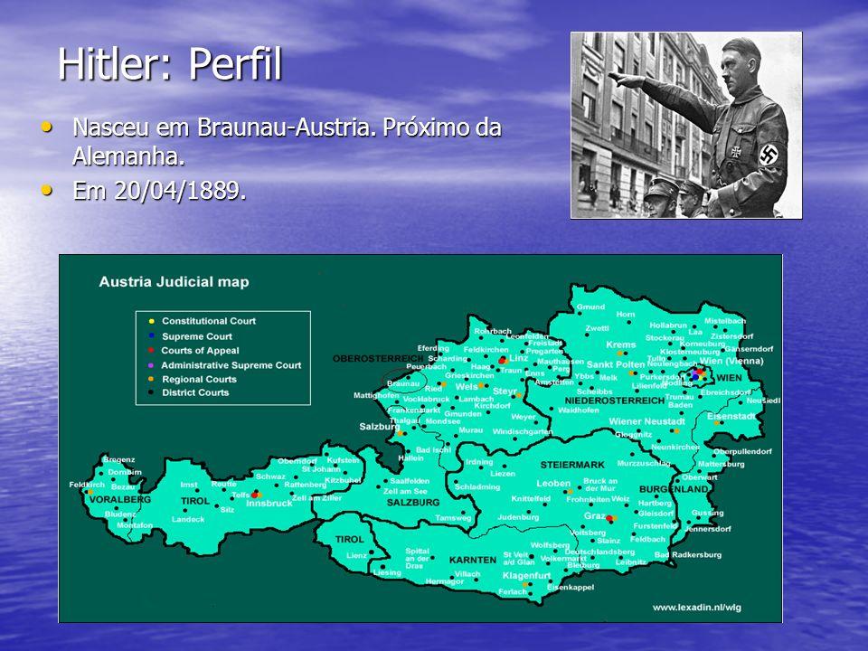 Hitler: Perfil Nasceu em Braunau-Austria. Próximo da Alemanha. Nasceu em Braunau-Austria. Próximo da Alemanha. Em 20/04/1889. Em 20/04/1889.