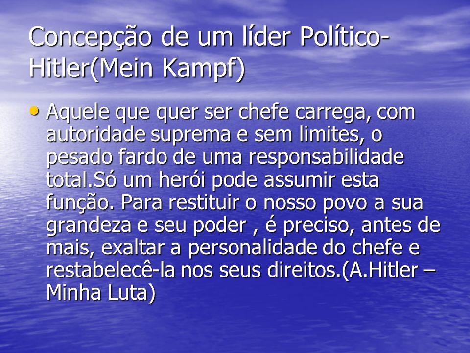 Concepção de um líder Político- Hitler(Mein Kampf) Aquele que quer ser chefe carrega, com autoridade suprema e sem limites, o pesado fardo de uma resp