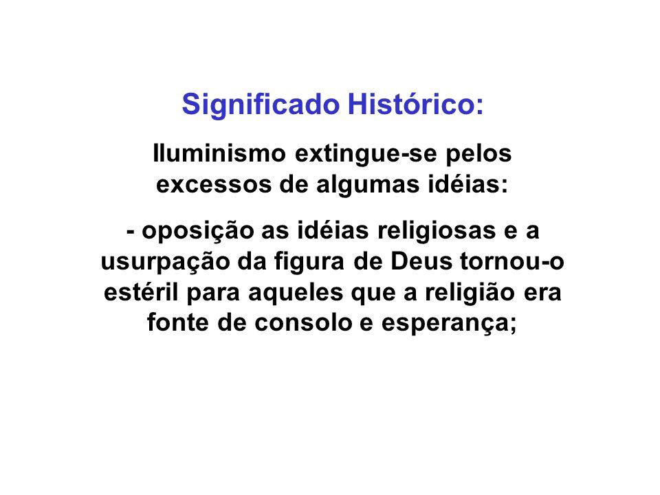 Significado Histórico: Iluminismo extingue-se pelos excessos de algumas idéias: - oposição as idéias religiosas e a usurpação da figura de Deus tornou