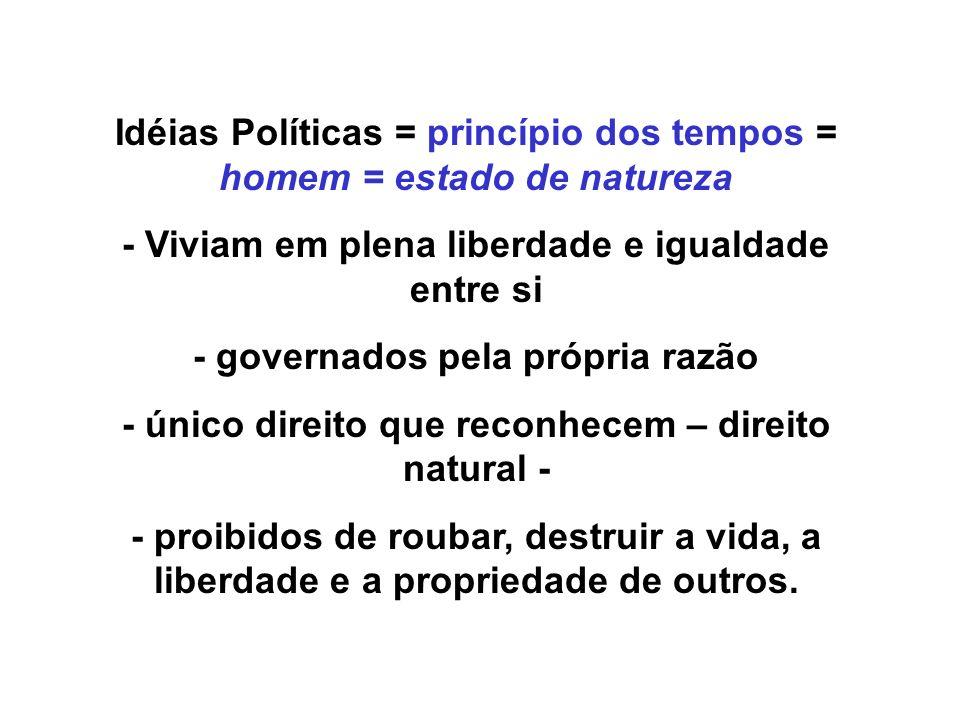 Idéias Políticas = princípio dos tempos = homem = estado de natureza - Viviam em plena liberdade e igualdade entre si - governados pela própria razão