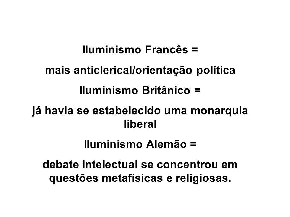 Iluminismo Francês = mais anticlerical/orientação política Iluminismo Britânico = já havia se estabelecido uma monarquia liberal Iluminismo Alemão = d