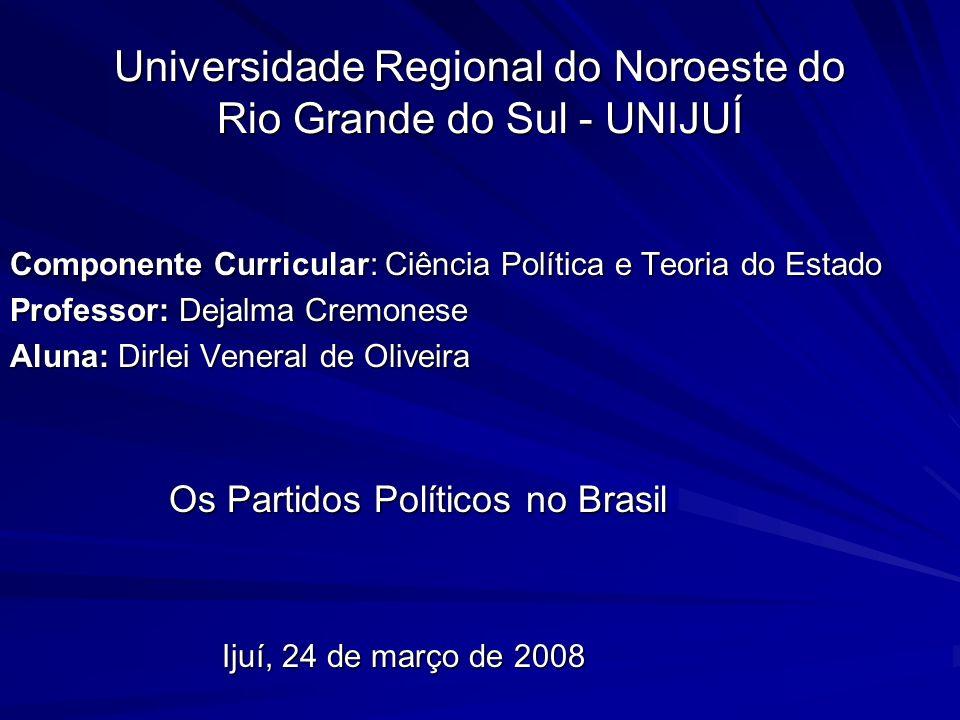 Universidade Regional do Noroeste do Rio Grande do Sul - UNIJUÍ Componente Curricular: Ciência Política e Teoria do Estado Professor: Dejalma Cremones