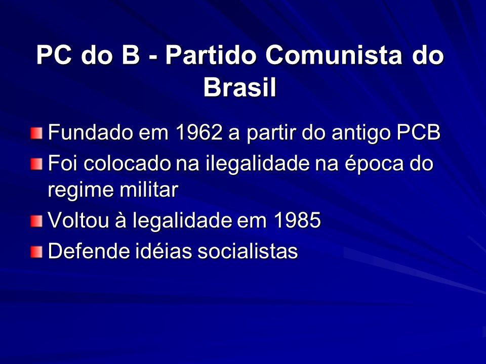 PC do B - Partido Comunista do Brasil Fundado em 1962 a partir do antigo PCB Foi colocado na ilegalidade na época do regime militar Voltou à legalidad