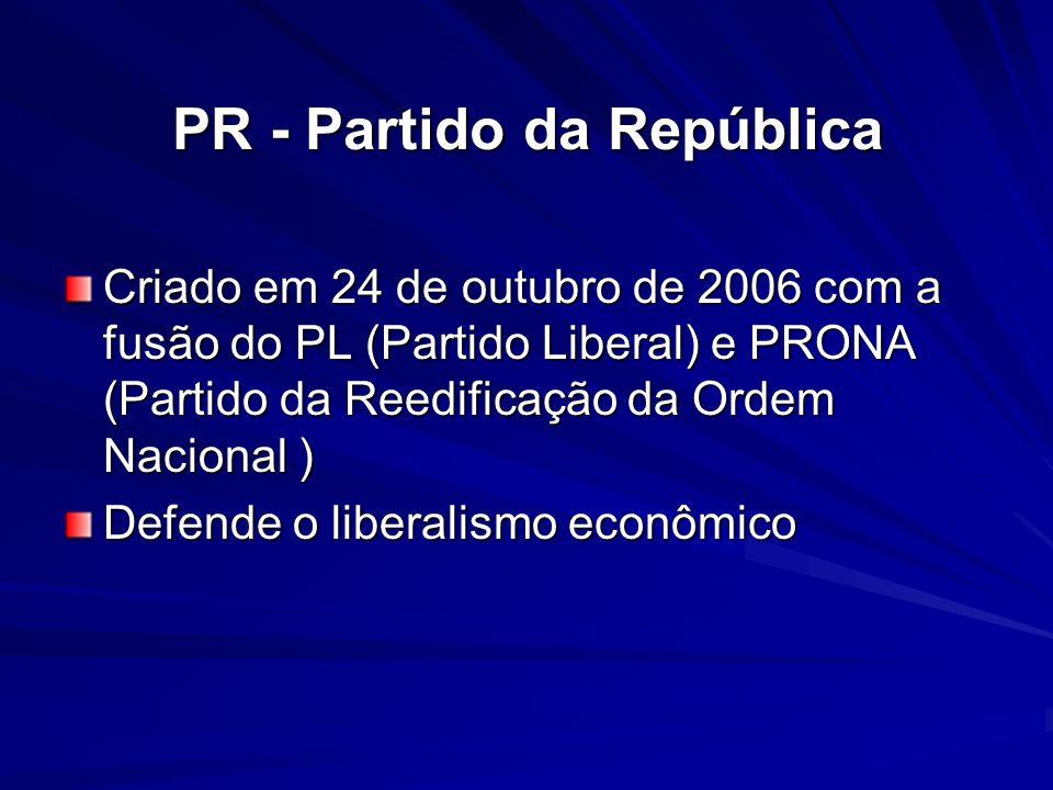 PR - Partido da República Criado em 24 de outubro de 2006 com a fusão do PL (Partido Liberal) e PRONA (Partido da Reedificação da Ordem Nacional ) Def
