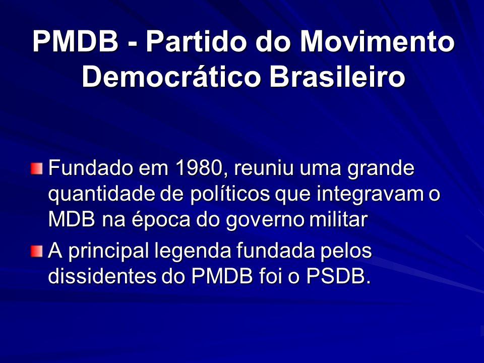 PMDB - Partido do Movimento Democrático Brasileiro Fundado em 1980, reuniu uma grande quantidade de políticos que integravam o MDB na época do governo